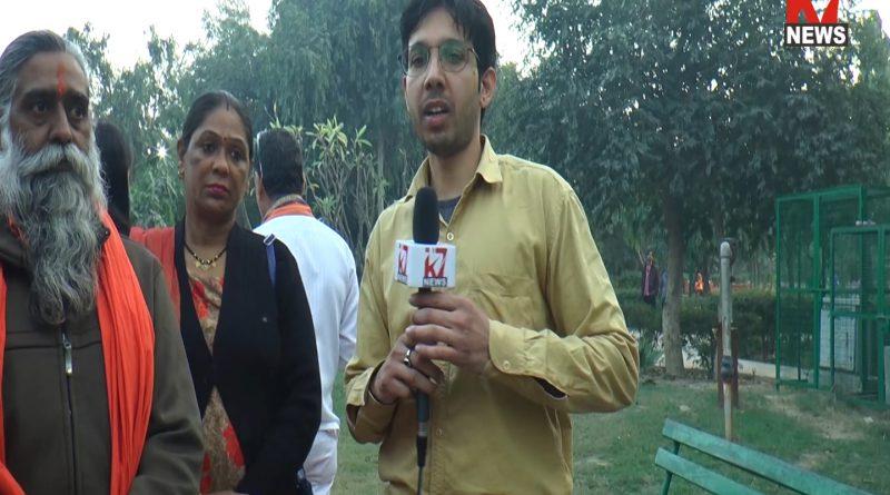 जनकपुरी डिस्ट्रिक पार्क में जन साधारण के साथ हुई हिन्दू युवा वाहिनी की खुली बैठक।